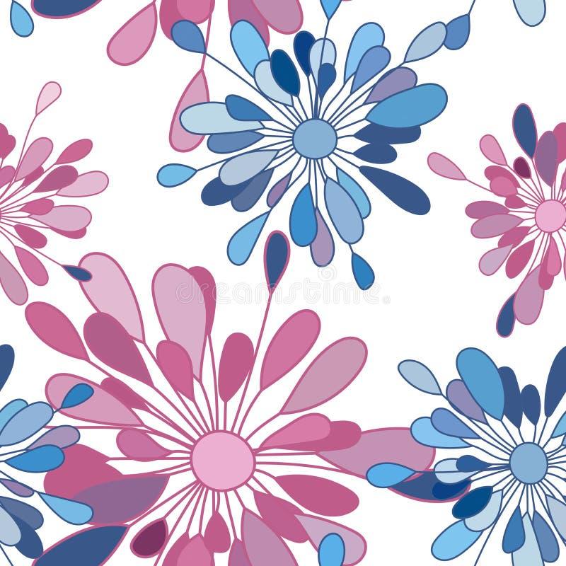 Das Muster von rosa und blauen Blumen lizenzfreie abbildung