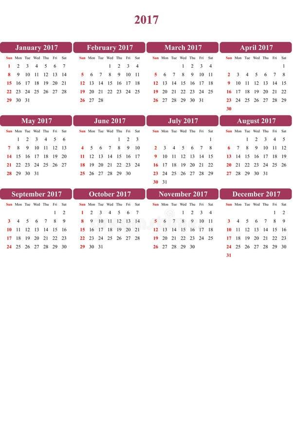 Das Nacht-shadz, das klar gefärbt wurde, färbte einfachen Kalender 2016 lizenzfreie abbildung