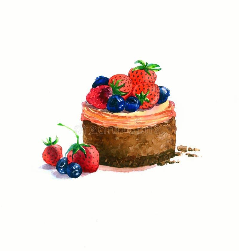 Das Nachtischkuchenaquarell der runden Form des Kuchens lizenzfreie abbildung