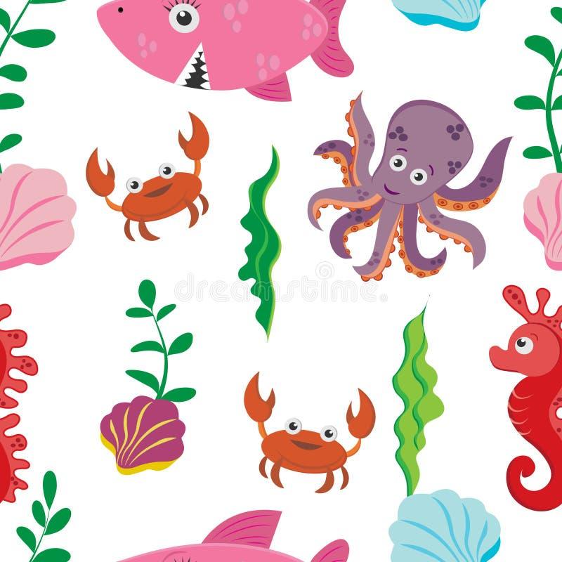 Das nahtlose Muster der mehrfarbige Kinder von Zahlen des Meeresflora und -fauna: Krabbe, Haifisch, Seahorse, Krake vektor abbildung