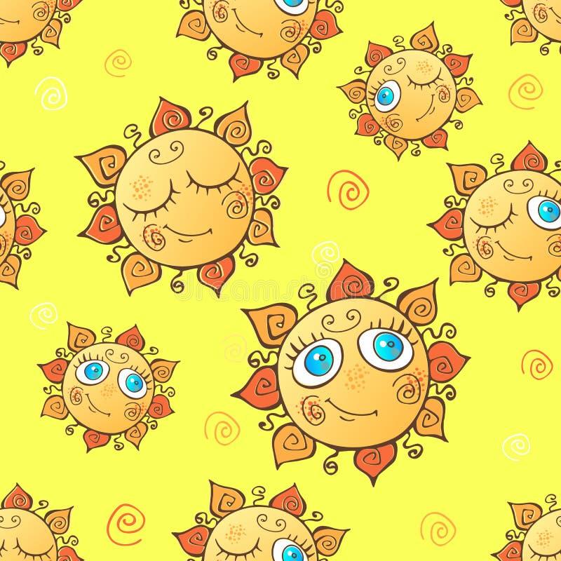 Das nahtlose Muster der nette Kinder mit Sonnen Vektor lizenzfreie abbildung