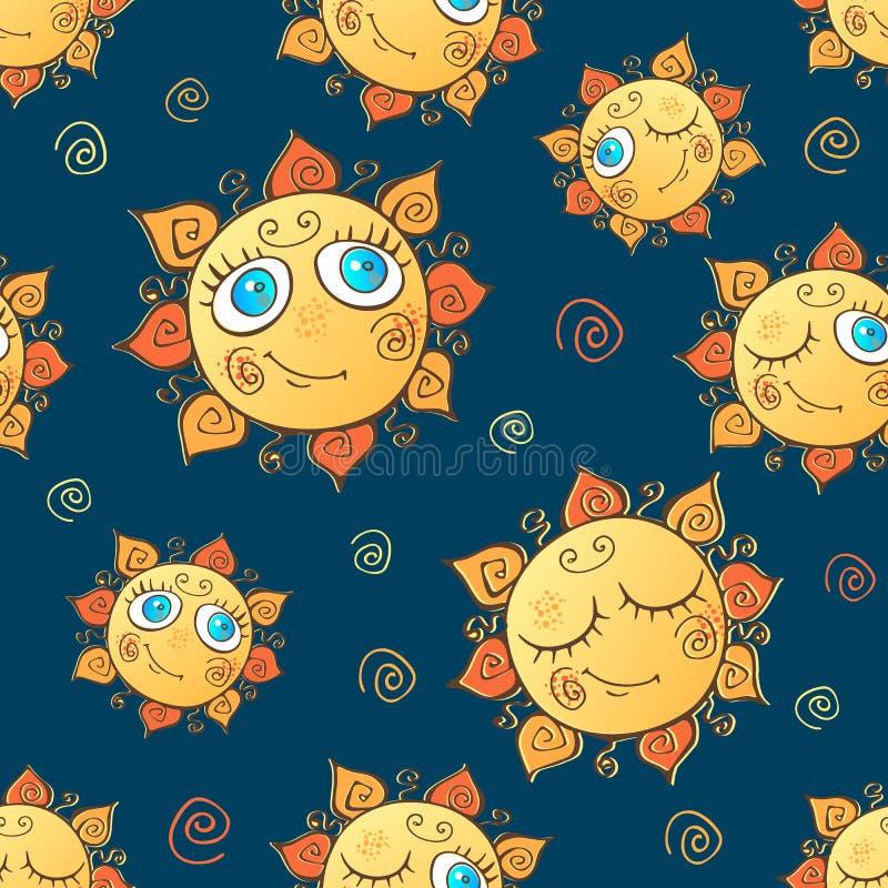 Das nahtlose Muster der nette Kinder mit Sonnen Vektor stock abbildung