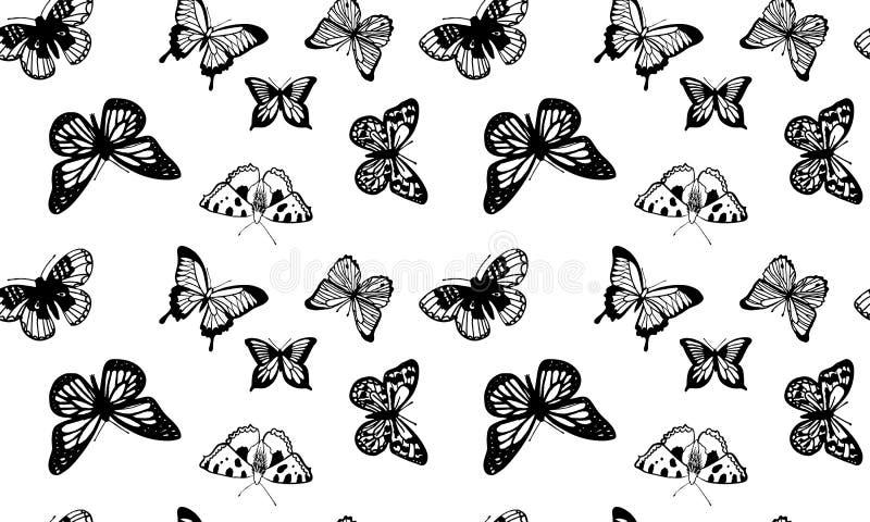 Das nahtlose Muster, das von der Hand geschaffen wurde, skizzierte Schmetterlinge lizenzfreie abbildung
