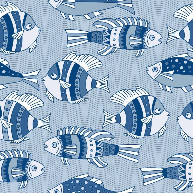 Das nahtlose Vektormuster mit den blauen Fischen lizenzfreie abbildung