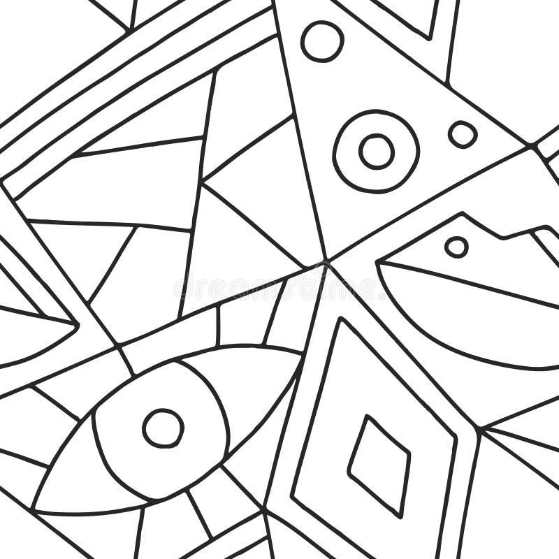 Das nahtlose Vektormuster, Schwarzweiss zeichnete asymetrischen geometrischen Hintergrund mit Raute, Dreiecke Druck für Dekor, Ta lizenzfreie abbildung