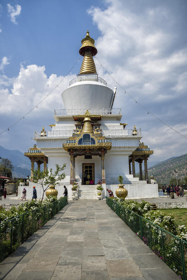 Das nationale Erinnerungs-Chorten gelegen in Thimphu, die Hauptstadt von Bhutan lizenzfreie stockfotos