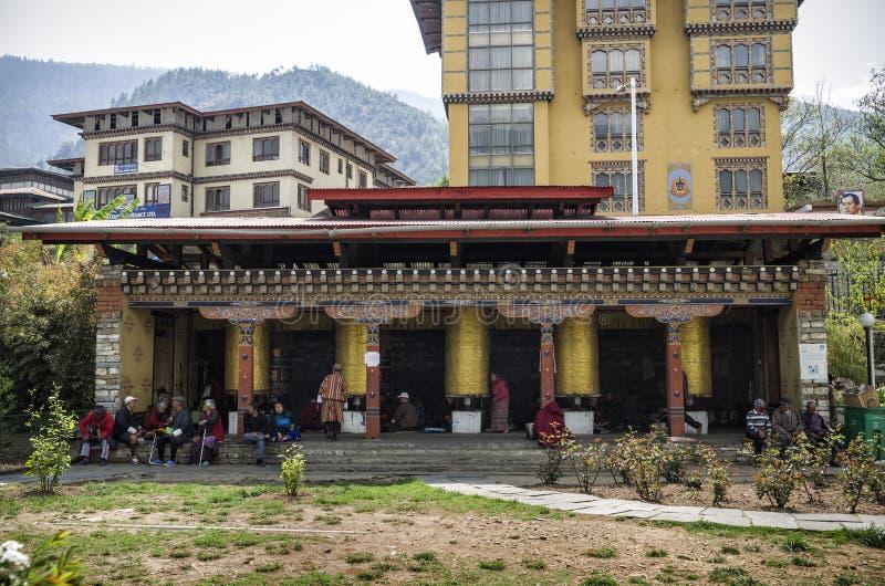 Das nationale Erinnerungs-Chorten gelegen in Thimphu, die Hauptstadt von Bhutan lizenzfreie stockfotografie