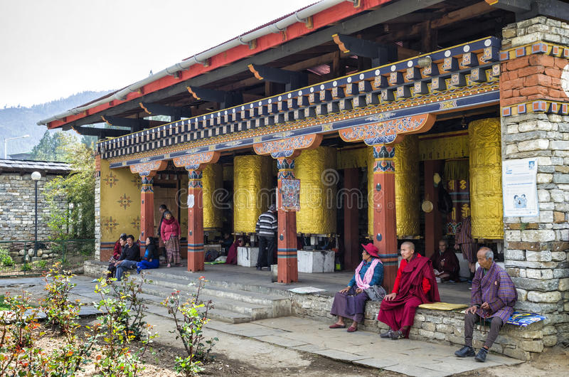 Das nationale Erinnerungs-Chorten gelegen in Thimphu, die Hauptstadt von Bhutan stockfotografie
