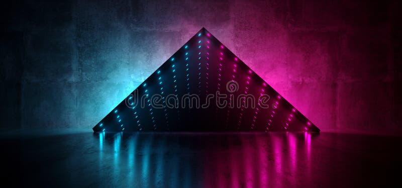 Das Neonglühen führte Leuchtstoffden unendlichkeits-Glühen-Spiegel-Kasten-Schmutz-konkreten reflektierenden Raum der optischen Tä stock abbildung