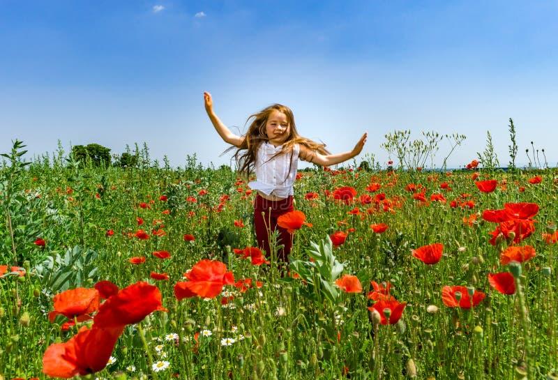 Das nette kleine Mädchen, das in den roten Mohnblumen spielt, fangen Sommertag, Schönheit auf lizenzfreies stockbild