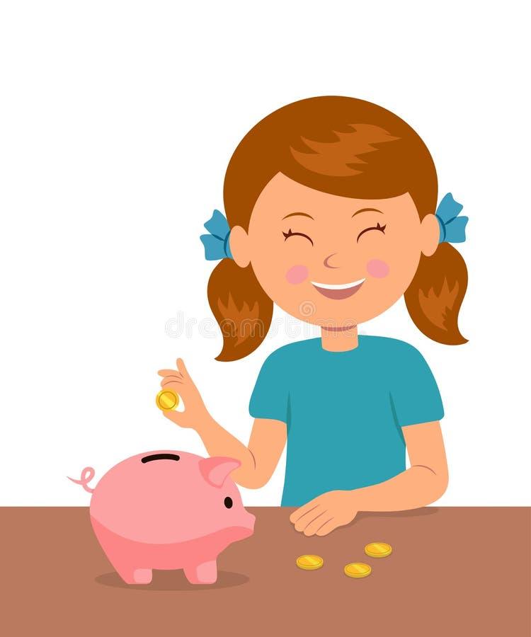 Das nette kleine Mädchen, das am Tisch steht, setzt Münzen in ein Sparschwein und in Träume des Kaufes etwas ein lizenzfreie abbildung