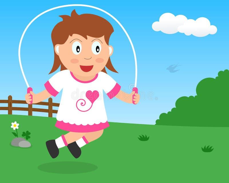 Das nette Mädchen, das mit überspringt, fangen den Park ein stock abbildung