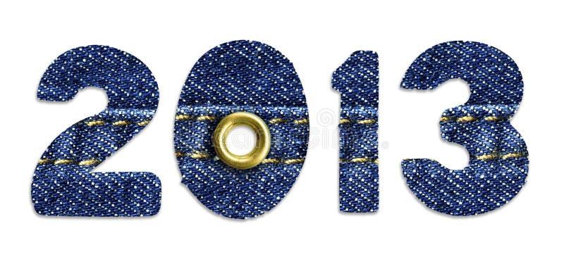 Das neue Jahr 2013 - Blue Jeansschrifttypen lizenzfreie stockbilder