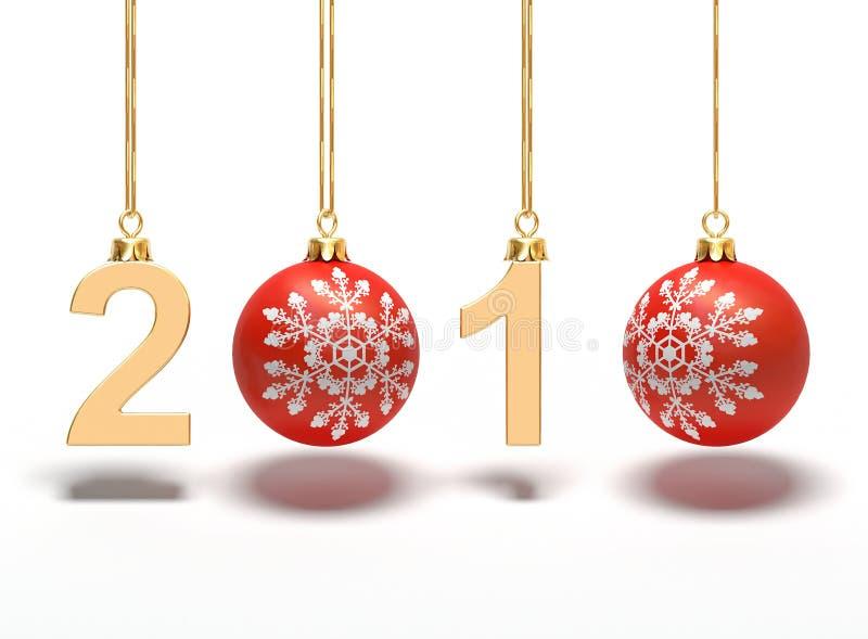 Das neue Jahr 2010 mit Bällen stock abbildung