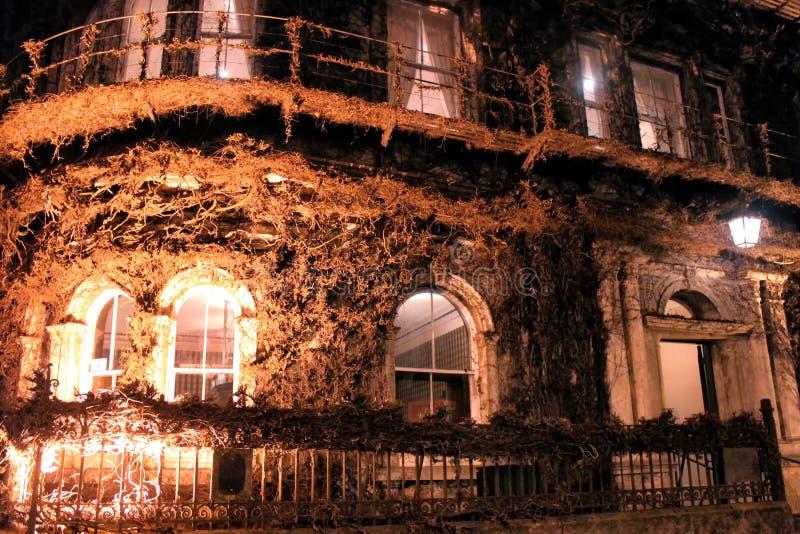 Das Nordvereingebäude bedeckt in Virginia Creeper nachts, stockfotografie