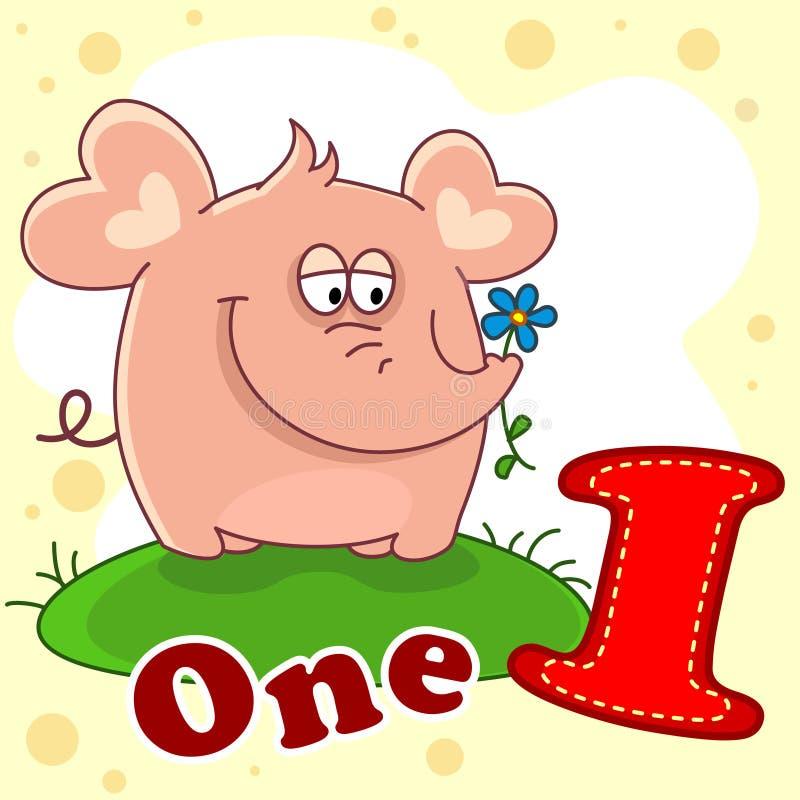 Das Nummer Eins mit einer Illustration lizenzfreie abbildung