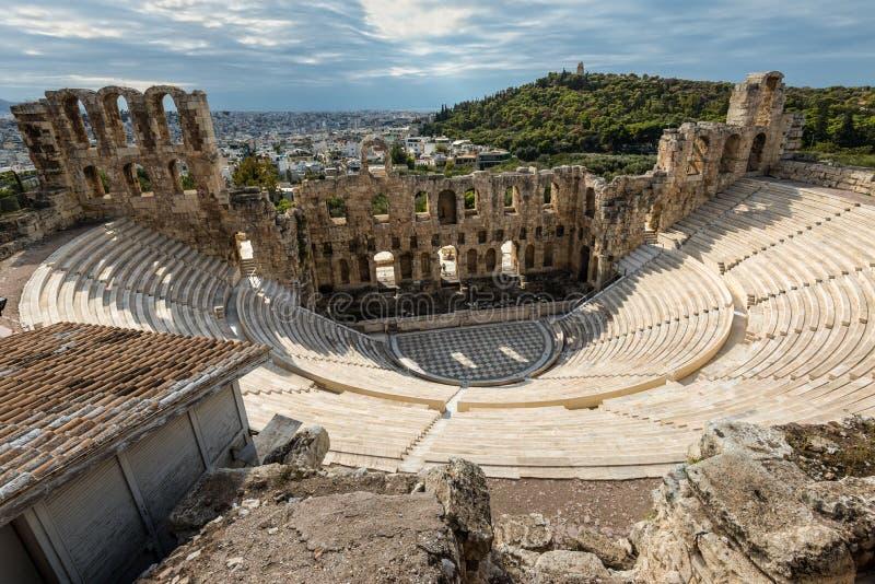 Das Odeon von Herodes Atticus auf der Südsteigung der Akropolises in Athen, Griechenland stockfotos