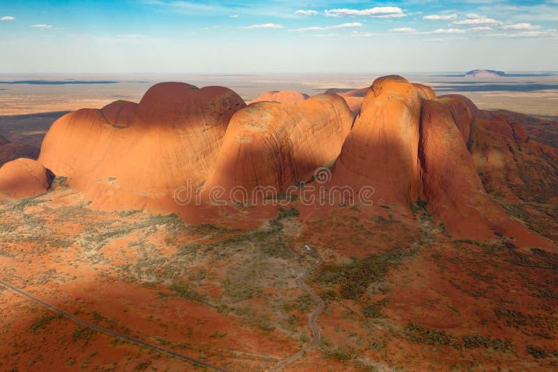 Das Olgas - Kata Tjuta - das Australien, Vogelperspektive stockfoto