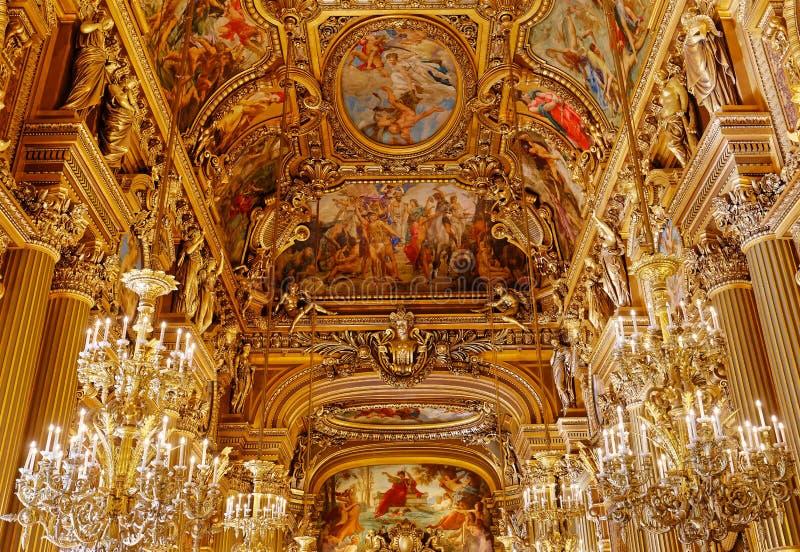 Das Palais Garnier, Oper von Paris, Innenraum und Details lizenzfreies stockfoto