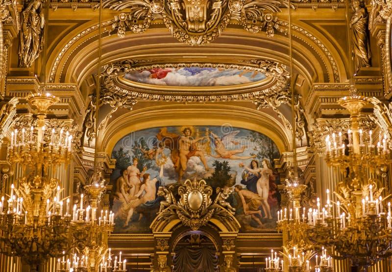 Das Palais Garnier-, Opernde Paris, Innenraum und Details lizenzfreie stockfotografie