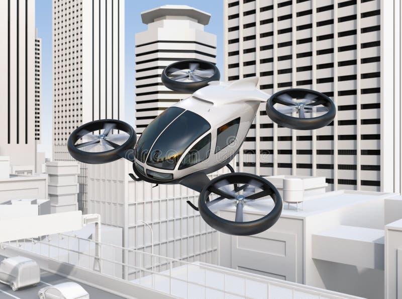 das Passagierbrummen Selbst-fahren, das über eine Straßenbrücke fliegt, die im starken Verkehr stauen stock abbildung