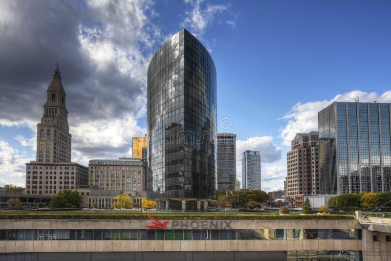 Das Phoenix-Gebäude in Hartford, Connecticut an einem sonnigen Tag lizenzfreies stockbild