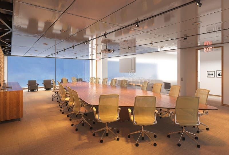 Das Photorealistic Büro übertragen Abbildung 3D Tabelle und Stühle lizenzfreies stockfoto