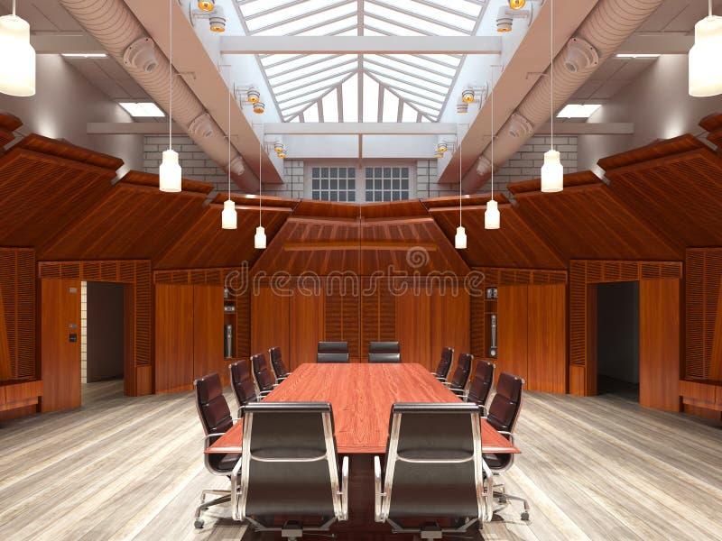 Das Photorealistic Büro übertragen Abbildung 3D Tabelle und Stühle stockfoto