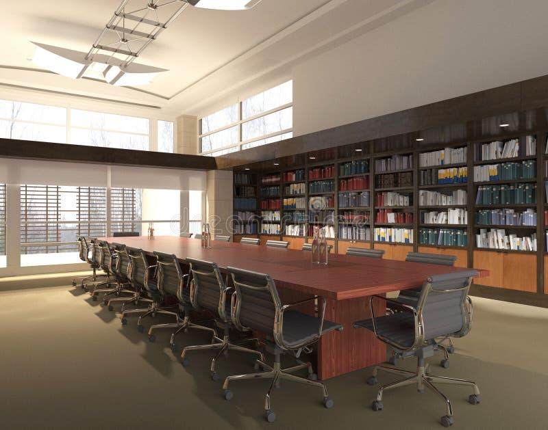Das Photorealistic Büro übertragen Abbildung 3D Tabelle und Stühle lizenzfreie stockfotos