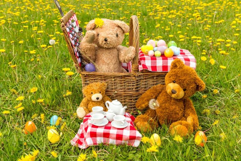 Das Picknick des Teddybären im Sommer mit hellem gelbem Löwenzahn lizenzfreie stockfotos