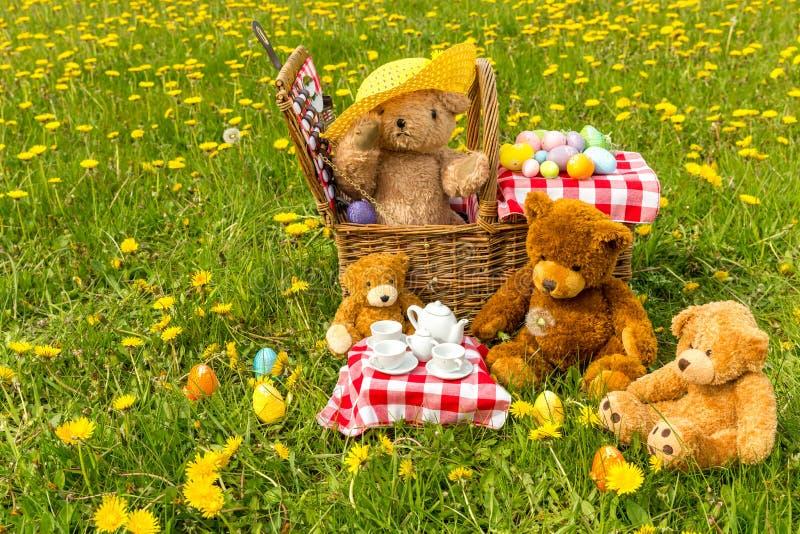 Das Picknick des Teddyb?ren im Sommer mit hellem gelbem L?wenzahn lizenzfreie stockfotos