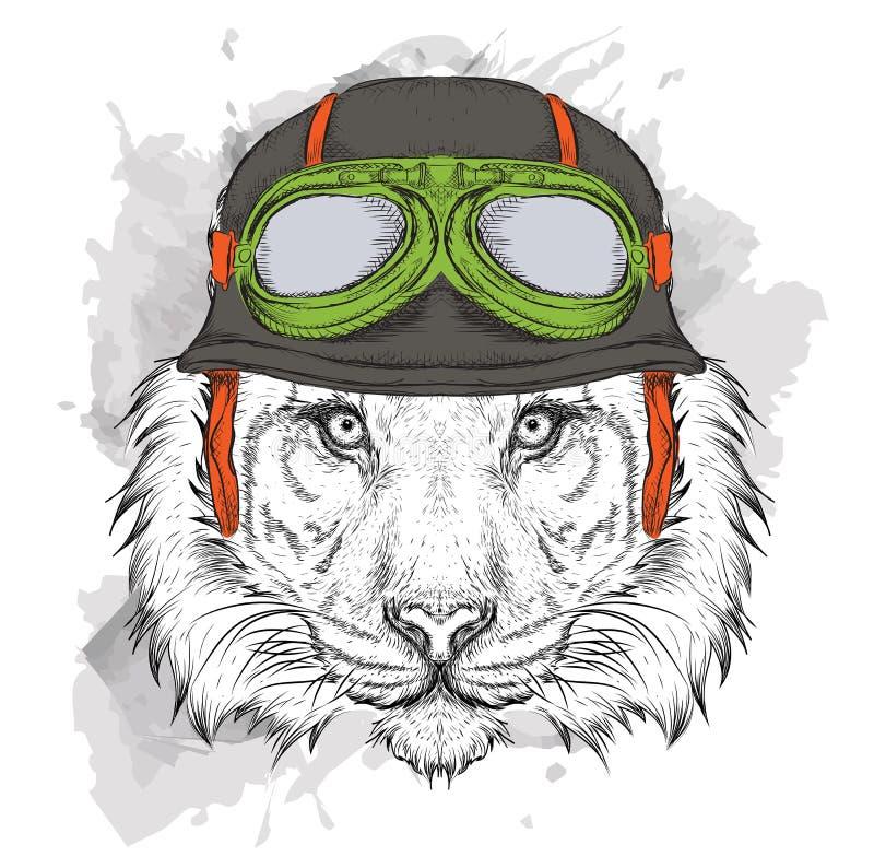 Das Plakat mit dem Porträt des Tigers, der den Motorradsturzhelm trägt Auch im corel abgehobenen Betrag vektor abbildung