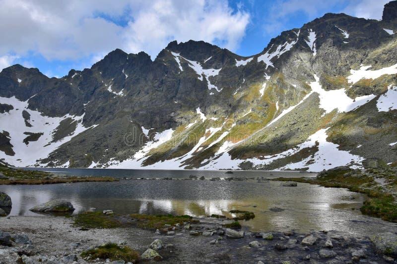 Das pleso Gebirgssee Vel 'KE Hincovo mit den Mengusovske-Bergen im hohen Tatras lizenzfreie stockfotos