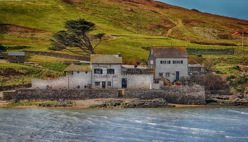 Das Plichard-Gasthaus auf Burgh-Insel in Süd-Devon stockbilder
