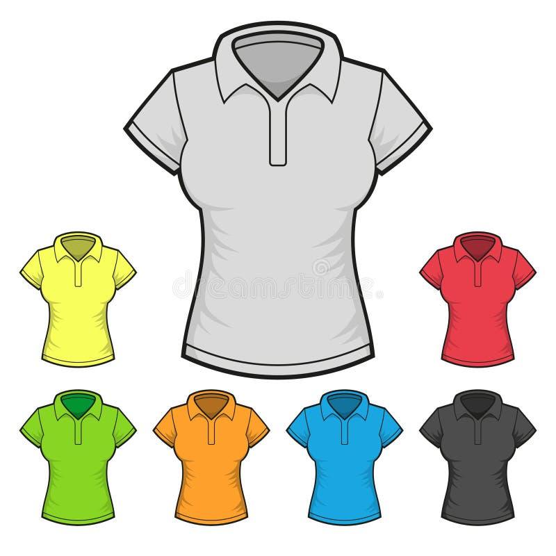 Das Polo-T-Shirt Design-Schablonen-Farbsatz Der Frauen Vektor ...
