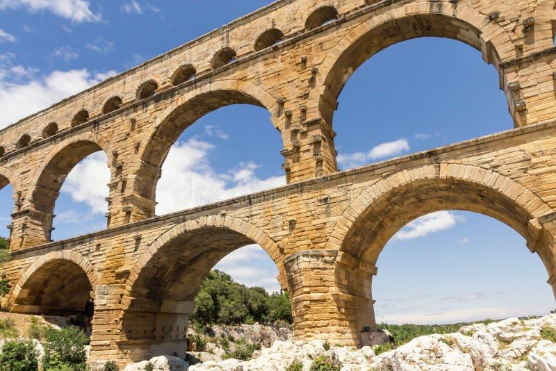 Das Pont DU Gard in Frankreich-Nahaufnahme stockfoto