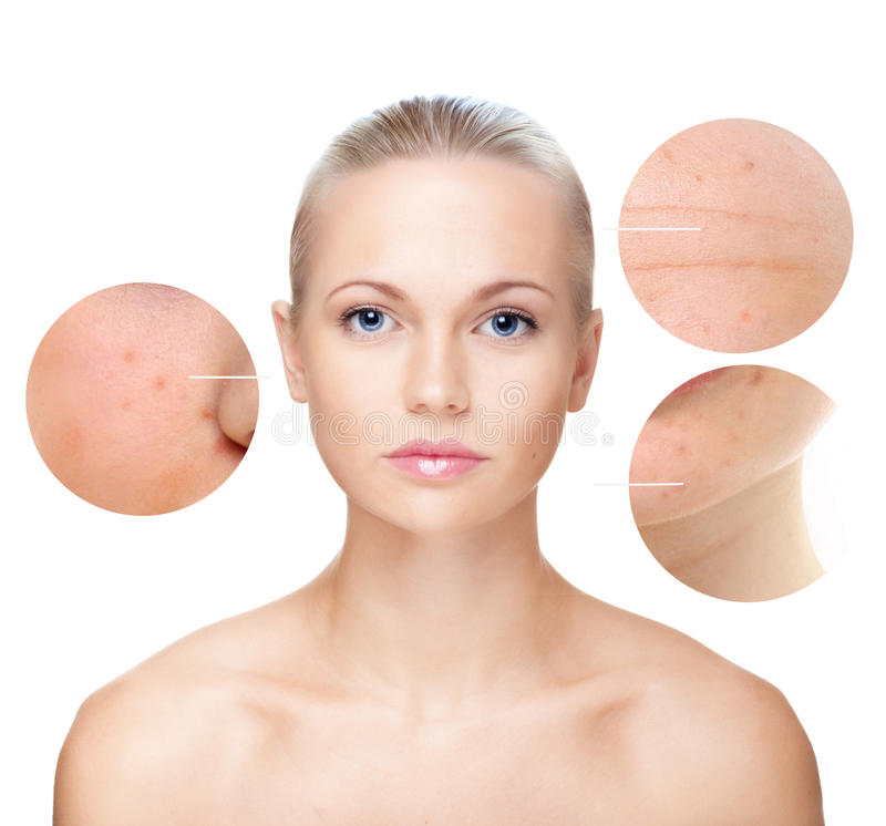 Das Porträt der Schönheit, Hautpflegekonzept. lizenzfreies stockbild