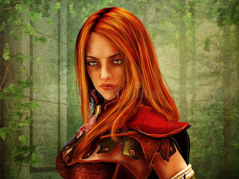 Das Porträt des weiblichen Fantasiekriegers stock abbildung