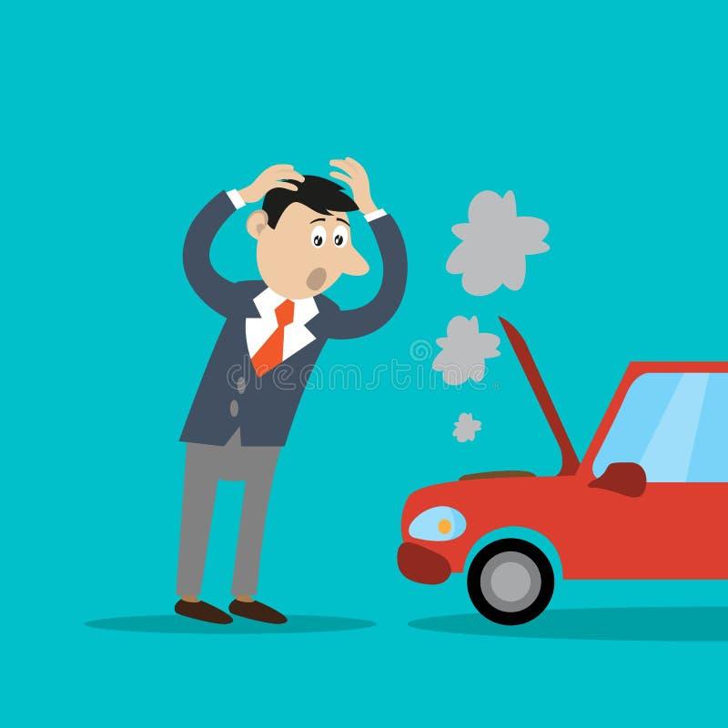 Das Problem ist der Geschäftsmann, das aufgegliederte Auto lizenzfreies stockbild