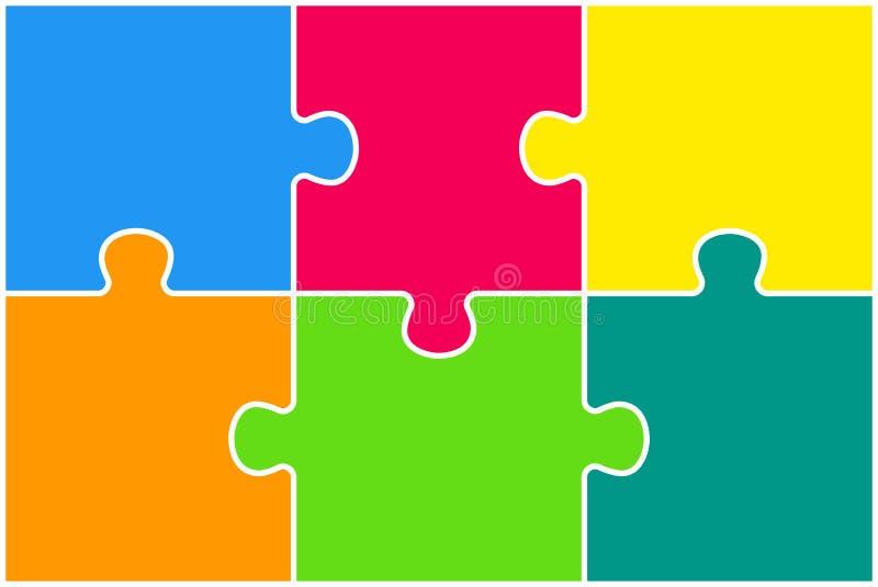 Das Puzzlespiel bessert Infographics aus Sechs Schritt-Puzzlespiel stock abbildung