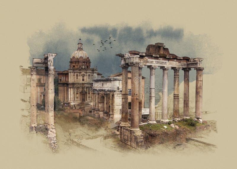 Das römische Forum in Rom, Italien, Aquarellskizze stockfotos