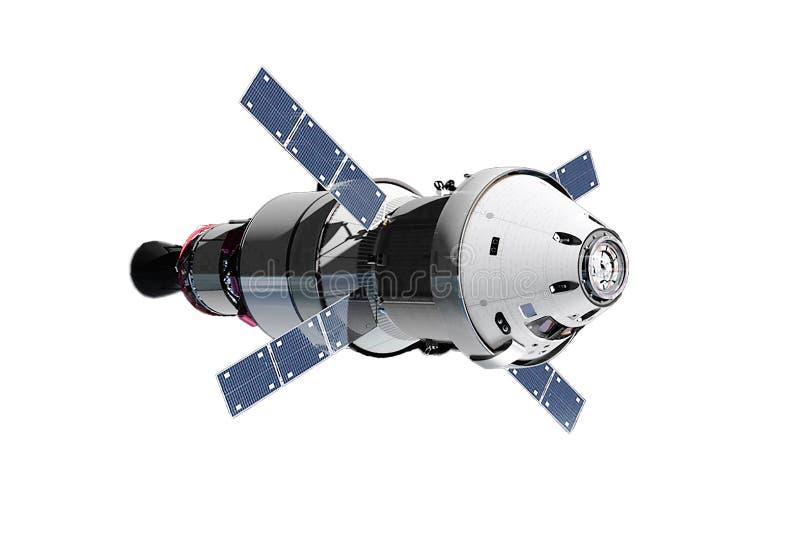 Das Raumschiffmodul, wenn die Solarbatterien, auf einem weißen Hintergrund lokalisiert sind Elemente dieses Bildes wurden von der vektor abbildung