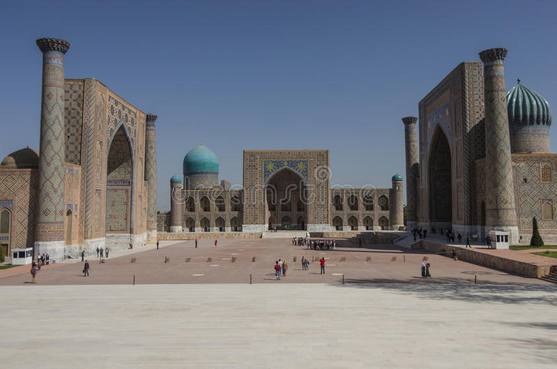 Das Registan-Quadrat in Samarkand stockfoto