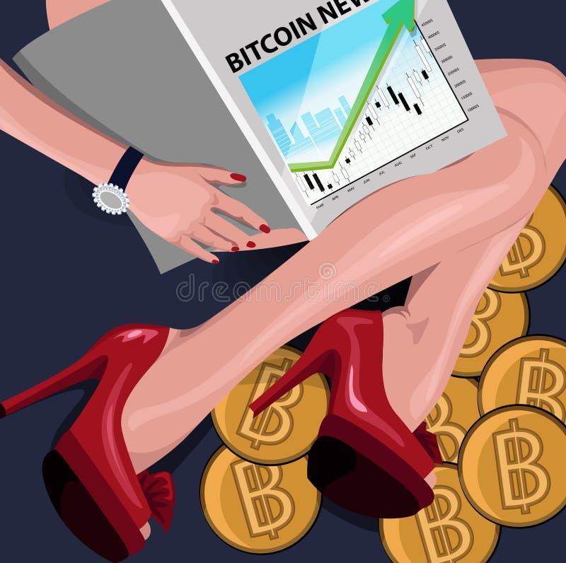 Das reiche Mädchen sitzt auf bitcoins mit einer Finanzzeitschrift Begriffsillustration, Clipart vektor abbildung