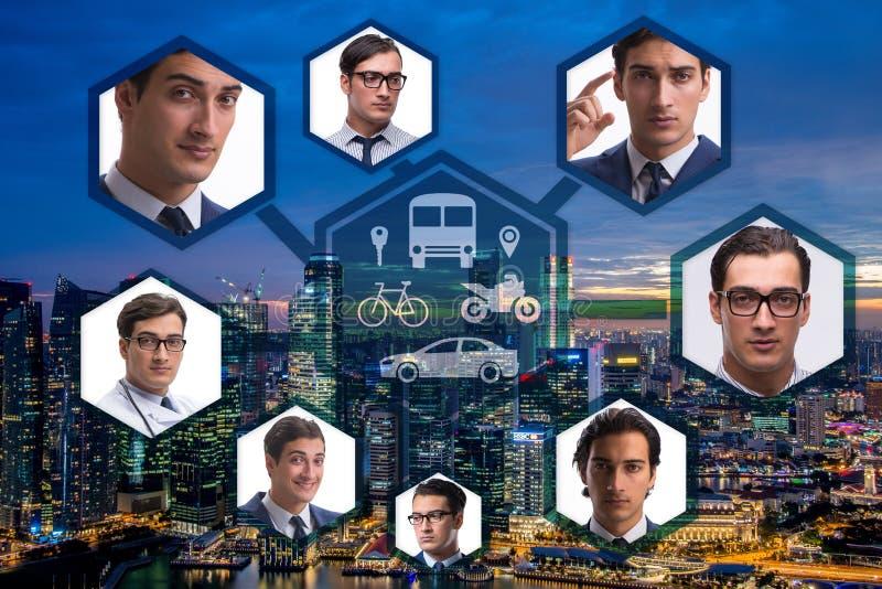 Das ridesharing und carpooling Konzept in der Stadt stock abbildung