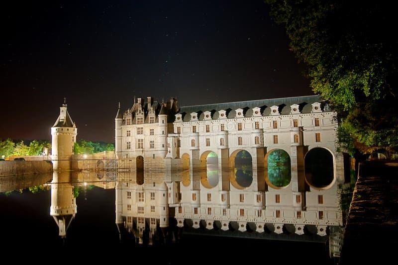 Das romantische Chenonceau Schloss lizenzfreie stockbilder