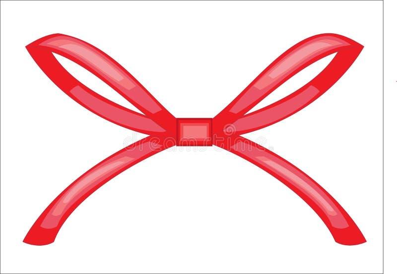 Das rote Band wird geknotet Dekoration für ein Geschenk für eine Hochzeit, für Valentinstag Auch im corel abgehobenen Betrag stock abbildung