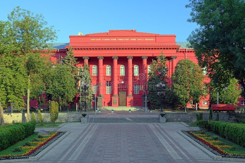 Das rote Gebäude der nationalen Universität Kiews, Ukraine stockbild