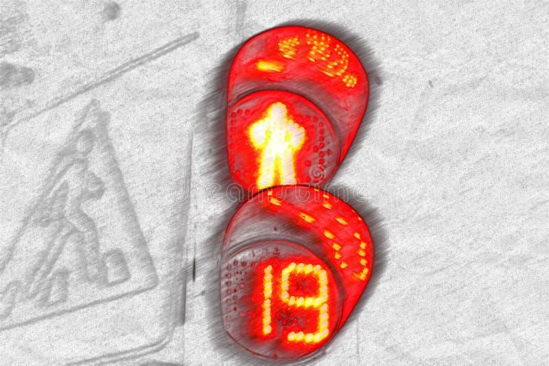 Das rote Licht der Ampel auf dem Fußgängerübergang eines menschlichen Schattenbildes und des Zählers, der was zeigt, auf zu w lizenzfreie stockfotos