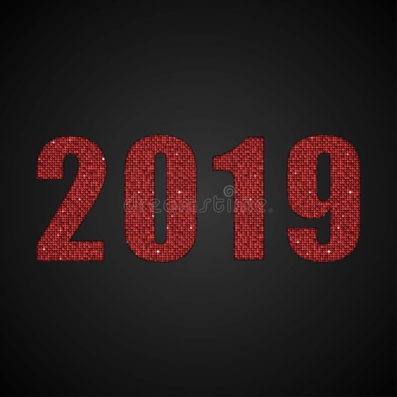 Das rote Paillette-neues Jahr-Zeichen der Nr.-2019 lizenzfreie abbildung